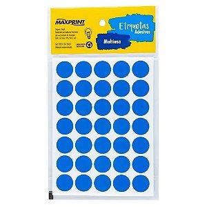 Etiqueta Multiuso Maxprint TP19AZ Diâmetro 19mm 6 folhas Azul