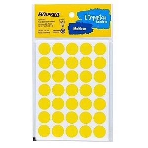Etiqueta Multiuso Maxprint TP19AM Diâmetro 19mm 6 folhas Amarela