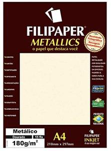 Filipaper METALLICS Dourado 180g/m² A4 com 15 Folhas