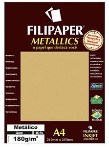 Filipaper METALLICS Ouro 180g/m² A4 com 15 Folhas