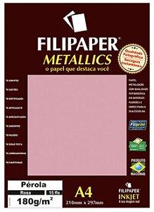 Filipaper METALLICS Pérola Branco 180g/m² A4 com 15 Folhas