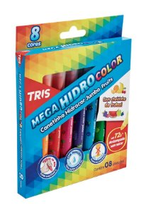 Hidrocor Ponta Jumbo Mega Hidro Color - Fruits - 8 Cores - Tris