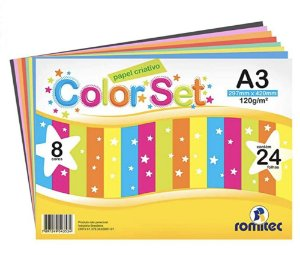 Papel Criativo A3 120g com 8 cores pacote com 24 folhas