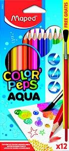 Lápis de Cor 12 Cores Aquarelável + 1 Pincel
