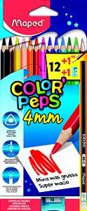 Lápis de Cor 12 Cores 4mm + 1 Lápis + 1 Apontador