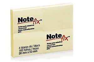 Bloco Adesivo Notefix™ Amarelo - 38mm x 50mm - 4 Blocos 100 folhas