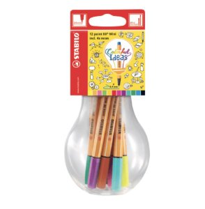 Estojo Caneta Stabilo Point 88 Colorful Ideas com 12 cores