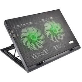 Cooler Para Notebook Warrior Power Gamer Led Verde Luminoso - AC267