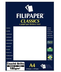 Papel Couchê A4 Branco 50 folhas 180g/m² - Filiperson