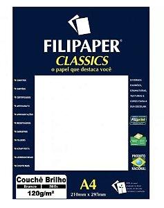 Papel Couchê A4 Branco 50 folhas 120g/m² - Filiperson