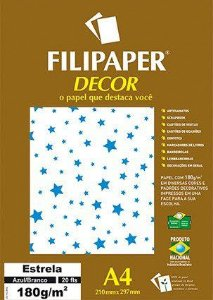Filipaper DECOR A4 20 Folhas 180g/m² Estrela Azul/Branco - Filiperson