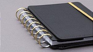 Discos e Elástico Dourado Caderno Inteligente