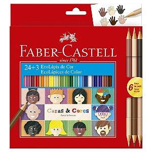 Lápis De Cor 24 Cores + 3 Lápis Tons De Pele - Faber-Castell
