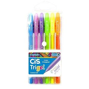 Caneta Trigel 0.8 Pastel com 6 Cores CIS