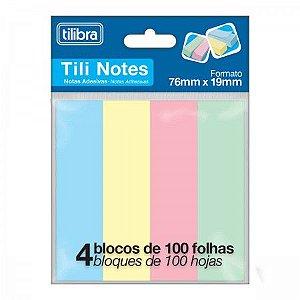 BLOCO ADESIVO TILI NOTES 76X19MM 400 FOLHAS 4 CORES