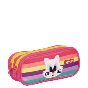 Estojo 2 Compartimentos Sestini Kids Cat 2 Colorido