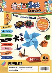 Papel Criativo A4 100g com 8 cores pacote com 24 folhas