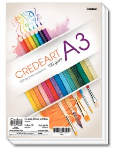 Papel Desenho A3 Branco 150g com 20 Folhas - CREDEAL