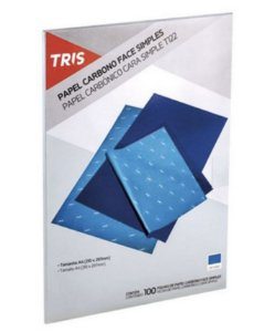 Papel Carbono 100 Folhas Tris Azul T122