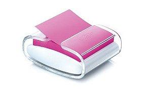 Porta Post-it® para Blocos de Notas Adesivas + 1 Bloco Refil, Transparente e Branco, 76mm x 76mm