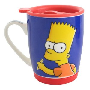 Caneca Os Simpsons Bart com Tampa 400ml