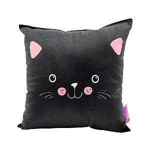 Almofada Fibra Veludo 25x25 Gato Meow