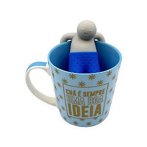 Caneca c/ Infusor Para Chá É Uma Boa Ideia 350ml