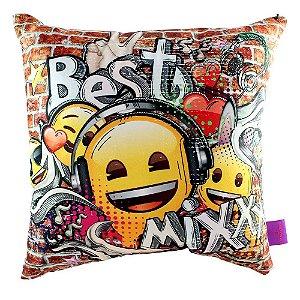 Almofada Fibra Veludo 40x40 Emoji Music