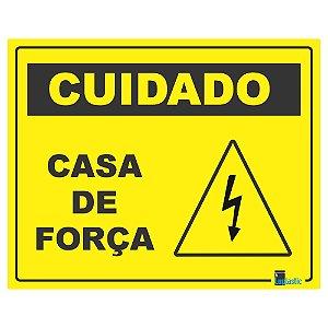 Placa Cuidado casa de força 20x25 cm