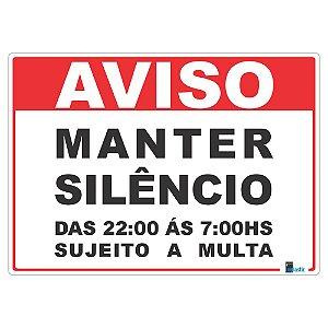 Placa Manter Silêncio das 22h ás 07h 25x35 cm