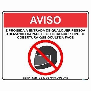 Placa Proibido Capacete São Paulo