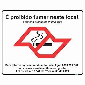 Placa Proibido Fumar São Paulo 20x25 cm