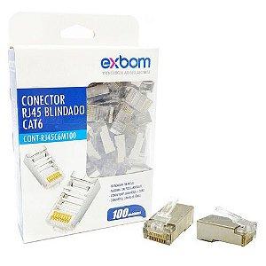 Conector RJ45 8x8 CAT5E Suporte Gigabit Ethernet Exbom CONT-RJ45P100 Caixa com 100 Unidades RJ45