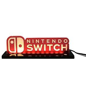 Luminária de Acrílico Led Nintendo Switch com Logo 25cm