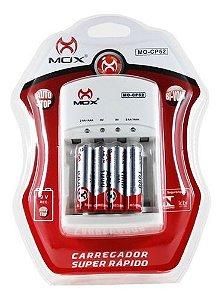 Carregador C/Pilha Mox AAA C/4 Mod MO-CP52