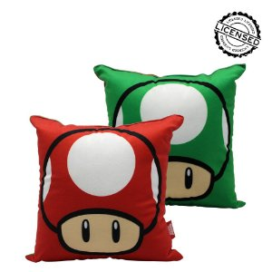 Almofada Fibra Veludo 25x25cm Mario Cogumelos - Nintendo