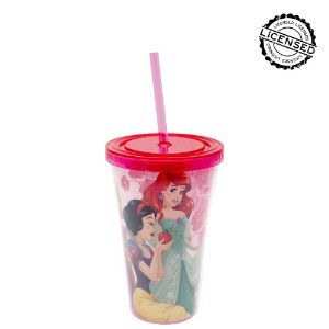 Copo Canudo 500Ml Princesas Disney