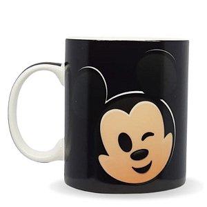 Caneca Mágica C/ Alça Redonda 300ml Disney Emoji- Mickey e Minnie Mouse