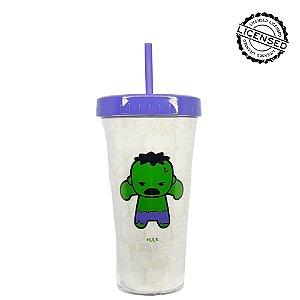 Copo Canudo Marvel Hulk  420ml