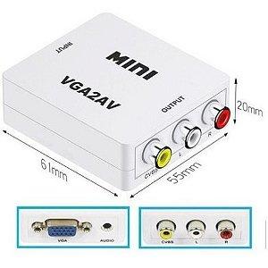 Mini Adaptador VGA2AV Conversor Para Áudio e Vídeo