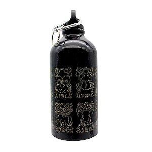 Garrafa De Alumínio 500ml C/Mosquetão Cavaleiros Emblemas De Ouro