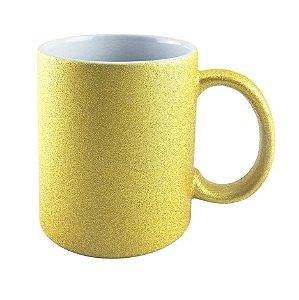Caneca de Cerâmica Texturizada Com Glitter Para Sublimação - Dourada - 325ml - Live Sub