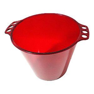 Balde de Gelo de Acrílico Vermelho Neon Translúcido - 5L