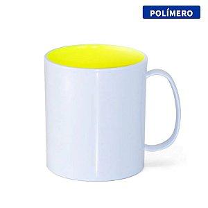 Caneca de Polímero com Interior Amarelo Limão