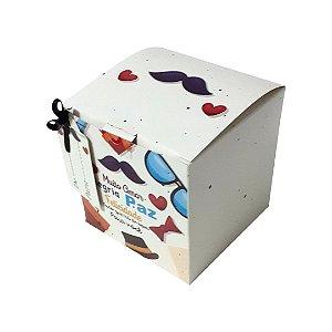 Caixinha de Caneca de Papelão Decorada - Tema Amor, Alegria e Paz - Pacote com 6 Unidades