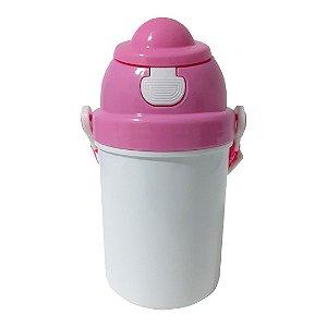 Squeeze Infantil em Polímero com Tampa e Tirante Rosa - 400ml
