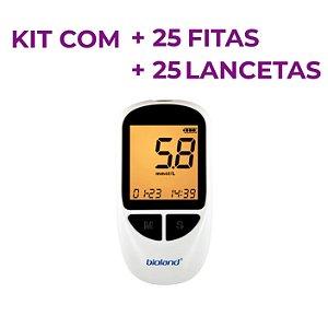 KIT Glicosímetro Medidor de Glicose G500  - BIOLAND