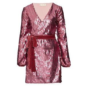 Vestido Paetê Rosa Poder