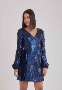 Vestido Paetê Azul Poder