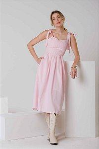 Vestido Midi Vichy Rosa Nathalia